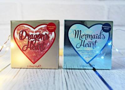 Dragon's Heart & Mermaid's Heart - Rozświetlacze I Heart Makeup - MAKEUP REVOLUTION | Zuzka Pisze