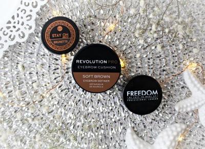 Freedom Pro Brow Pomade, Revolution Pro Eyebrow Cushion oraz Bell Stay On Brow - porównanie 3 pomad do brwi  | Zuzka Pisze