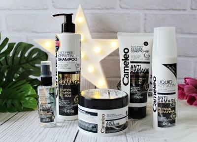 Zestaw do pielęgnacji włosów z keratyną bez soli DELIA Cameleo ANTI DAMAGE | Zuzka Pisze