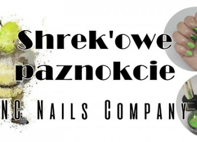 Shrek'owe Paznokcie- Chameleon Effect + Crystal Flakes NEON GREEN od NC NAILS COMPANY