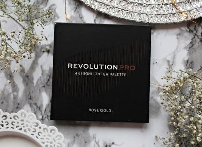 Revolution PRO 4K Highlighter Palette - paleta rozświetlaczyczy w odcieniu ROSE GOLD | Zuzka Pisze